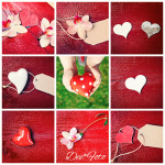red wood background with hearts and flowers - collage
